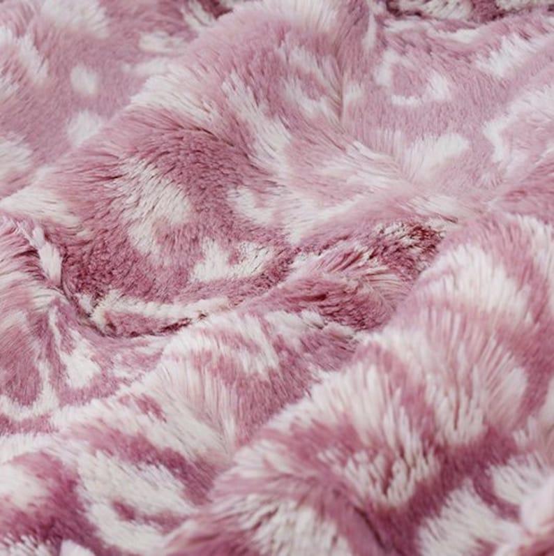 Luxe Cuddle Ocelot in Elderberry Pink MINKY Fur Fabric From Shannon Fabrics  10mm Pile- Yardage