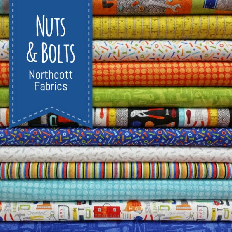 1 Panel Plus 11 Fabrics = 12 Fabrics Total Nuts and Bolts Bundle from Northcott Fabrics