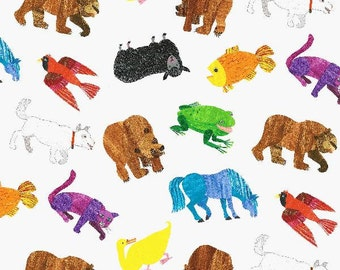 Brown Bear Brown Bear Multi Painted Animals From Andover Fabrics by Eric Carle