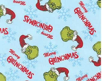 Merry Grinchmas Grinch Heads on Aqua Blue from Robert Kaufman's How The Grinch Stole Christmas 6 from Dr Seuss Enterprises