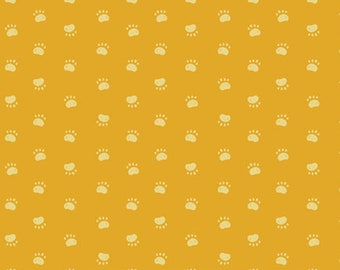 Pawsome Walk in Paw Prints in Yellow from Oh, Woof! Collection by Jessica Swift for Art Gallery Fabrics- 100% High Quality Quilt Shop Cotton