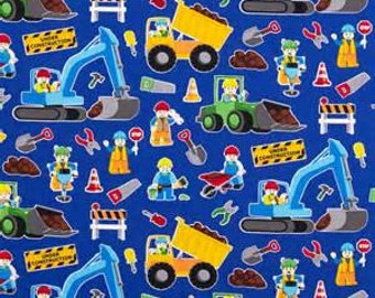 Construction Workers on Royal Blue from Timeless Treasures