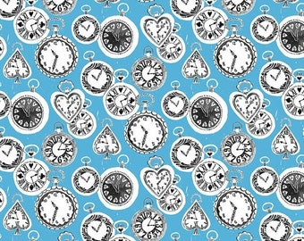 25% OFF CLEARANCE SALE Late for a Date Pocket Watches on Blue from Blend Fabric's Wonderland Collection by Josephine Kimberling