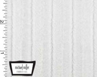 White Velvet Embossed Stripes Snuggle MINKY from Michael Miller Fabrics