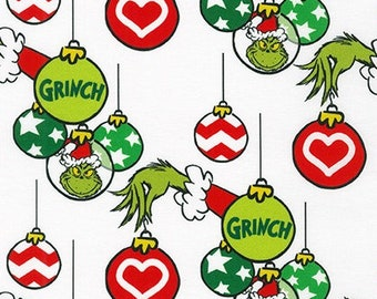 Grinch Ornaments from How The Grinch Stole Christmas from Dr Seuss Enterprises - 100% Quilt Shop Cotton