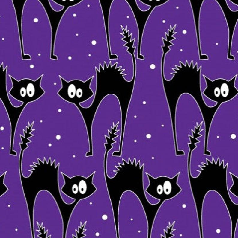 GLOW IN DARK Black Cats in Purple from Fabooloous Halloween image 0