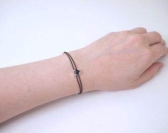 Dainty Black On Black Swarovski Rhodium-Plated Crystal with Double Silk Cord Bracelet