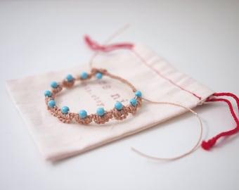 Ethnic Style Color Bead With Nylon Crochet Bracelet