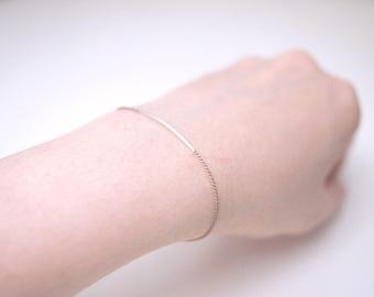 Super Slim Sterling Silver Tube (1mmx25mm) Silk Cord Bracelet