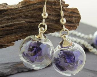 Mini Dark Blue real flower earrings, Sterling Silver Drop Earrings