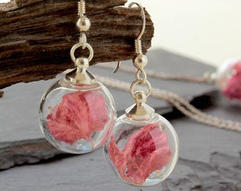 Mini Dark pink real flower earrings, Sterling Silver Drop Earrings
