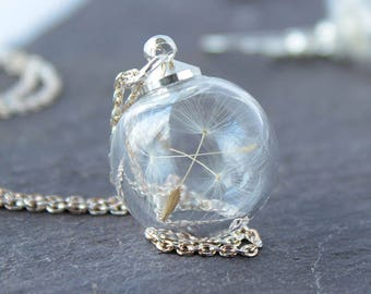 Mini Dandelion Necklace with silver chain