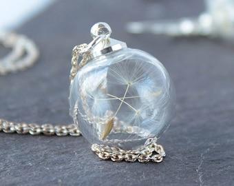 Mini collier de pissenlit avec chaîne en argent