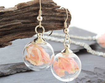 Mini Baby pink real flower earrings, Sterling Silver Drop Earrings