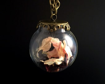 Baby Pink Glass Terrarium Necklace, Delphinium Petals and Dandelion seed Pendent with antique brass chain, Botanical Jewellery Terrarium