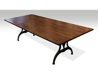 Industrial flooring table with Brooklyn cast iron legs