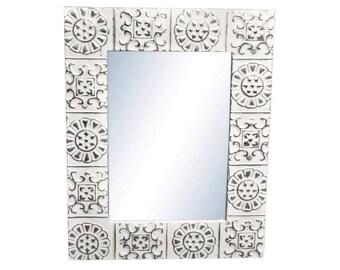 Alternating Flower 16 in. x 22 in. Tin Mirror