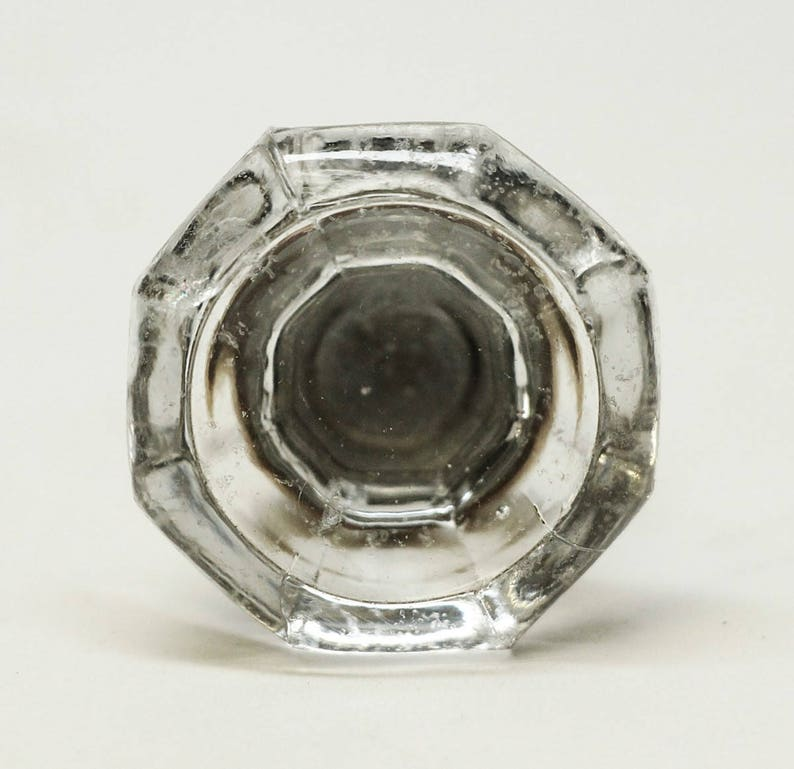 Faceted Acrylic Knob with Brass Base glass knob vintage antique pull rare