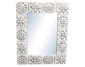 Alternating Flower 22 in. x 22 in. Tin Mirror