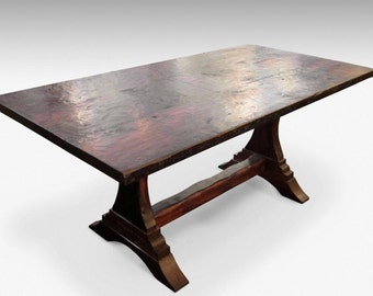 Antique reclaimed pine trestle table