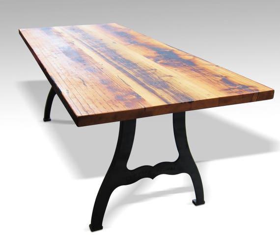 e704cc415c3b0 Reclaimed Farm Table with New York Machine Legs 8