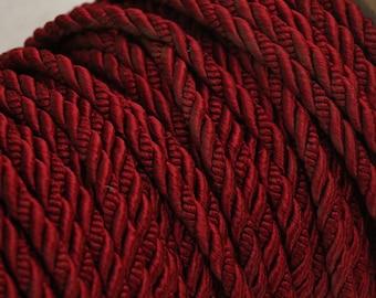 Vintage red burgundy twisted rope trim