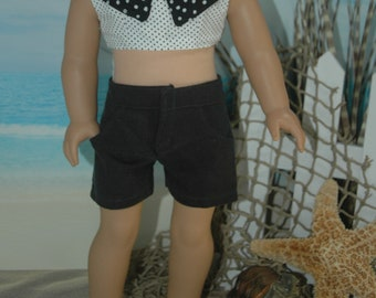 American, Made, boy, girl, doll, black, jean, fit, 18 inch, doll, shorts, doll clothes