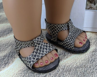 Faux snake skin vinyl ankle strap sandals handmade for 18 inch dolls like Our Generation, American Girl or My Life