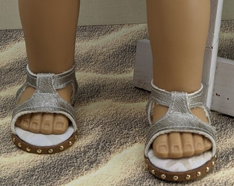 Brushed gold vinyl ankle strap sandals handmade for 18 inch dolls like Our Generation, American Girl or My Life