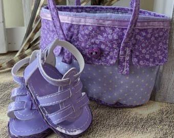 Cotton dot print purse and vinyl sandals made to fit 18 inch dolls like Our Generation, My Life, or American Girl