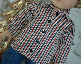 American, made, girl, boy, doll, clothes, button, shirt, top, fits, 18 inch