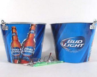 Bud Light Bucket, Barware Budweiser Advertising Patio Party Pail Ice  Container Anheuser Busch