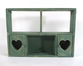 Green Wood Shelf, Vintage Wall Display Hearts Doors Hanging Curio Cupboard  Cabinet Americana Rustic Cottage Cabin Farmhouse Decor Shabby