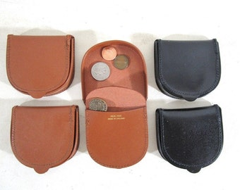 Leather Coin Tray, Vintage Made in England, Change Purse, New Old Stock, Black or Brown