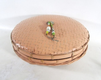 Round Chinese Sewing Basket, Large Vintage Wicker Rattan Bamboo Glass Beads Mid Century Craft Storage Victorian Style