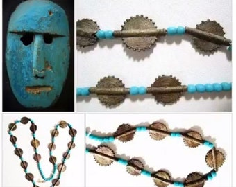 Turquoise and Brass Necklace, Vintage Destash Discs and Beads, Boho Ethnic Tribal Style