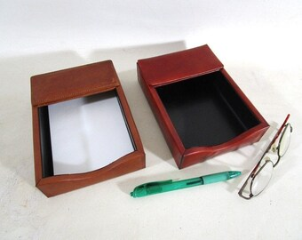 Bosca Leather Note Pad Memo Holder, Vintage Desk Writing Accessory, Father's Day Teacher Secretary Gift