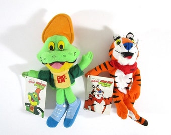 Tony the Tiger or Dig 'Em Frog, Vintage 1990s Kellogg's Bean Bag Breakfast Bunch, Advertising, Stocking Stuffer