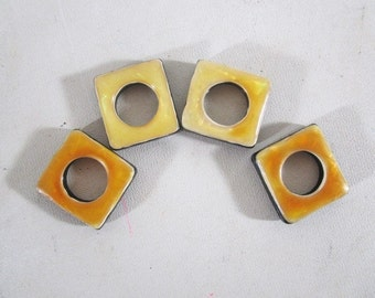 Bakelite Beads, Vintage, Square with Round Center, Two Color, Two Sets of Holes for Stringing, Jewelry Destash