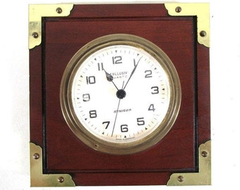 Staiger Exclusiv Quartz Clock, Vintage Brass Porthole Style Made in Germany Brass Trim