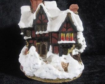 Deer Park Hall, Vintage Lilliput Lane Christmas Holiday Village Miniature House, Hand Crafted & Painted