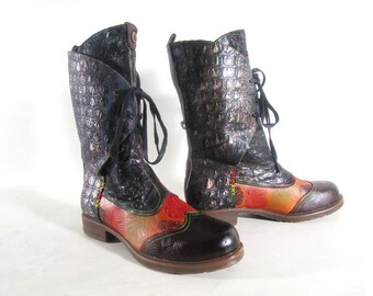 Lace up Boots, Fall Autumn Colors, Monstera Fern Embossed Leather, US size 11 M
