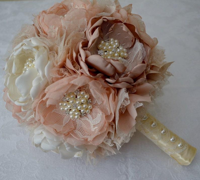 Bridal Bouquet Cream Off-white Ivory Nudes Vintage Style Bouquets Heirloom Bouquet Champagne Keepsake Bouquet Fabric Bouquet