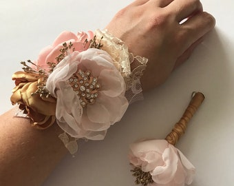 Blush and Gold Corsage and Boutonnière - Choose Your Piece at Check out - Pink Gold, Rose Gold, Fabric Flowers, Prom, Homecoming, Corsage