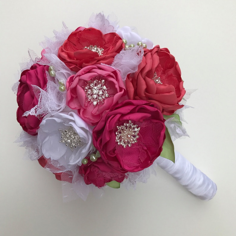 Fabric Flower Bouquet Faabric Flowers Bouquet Coral Pink Fabric Wedding Flowers Pink Bridal Large Size Hot Pink and Pure White