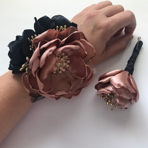 Rose Gold And Black Wrist Corsage Or Boutonniere Fabric Etsy
