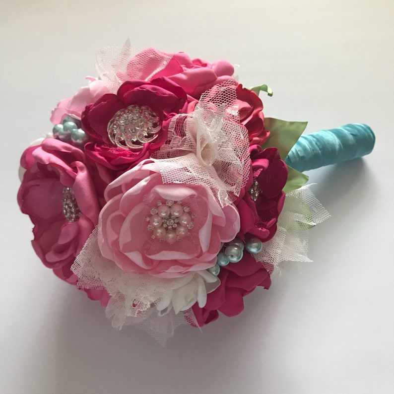 Shown in Medium Size Fabric Bouquets Silk Flowers Pink and Ice Blue Wedding Bouquet Fabric Wedding Bouquet Handmade Fabric Flowers