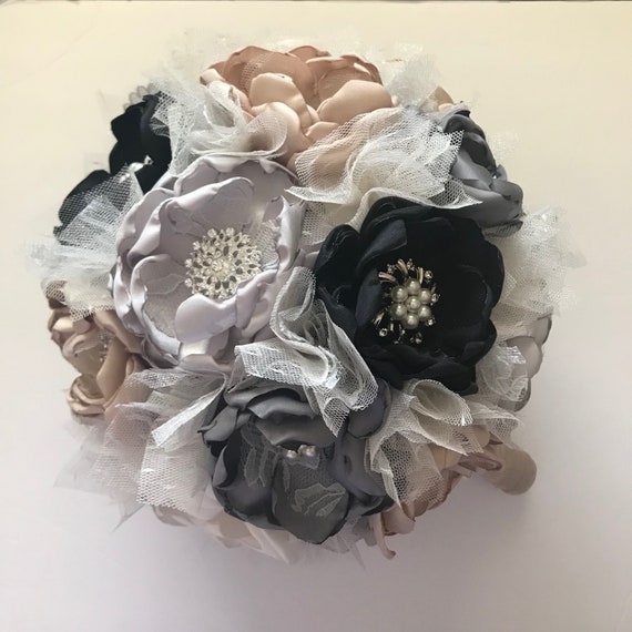 Black Grey Champagne And Cream Fabric Flower Bouquet Extra Etsy