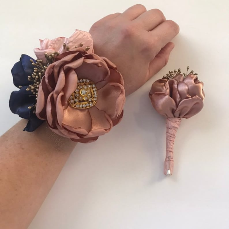 Winter Formal Navy Rose Gold and Blush Corsage or Boutonni\u00e8re Set Blush and Navy Prom Pink and Navy Blue Fabric Flowers Homecoming