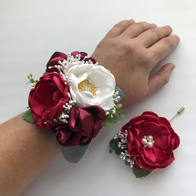 Shades of Red and Ivory Corsage or Boutonnière image 0